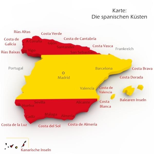 Karte spanische Küsten und Urlaubsziele
